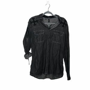 Roar Signature Black Embroidered Button Up Shirt L